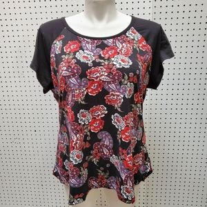 JustBe Plus Size Paisley/Floral Print Top 3X